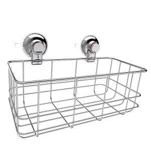 מדף ואקום לאמבטיה | סל רשת ללא קידוח |סל גדול PUSH2LOCK